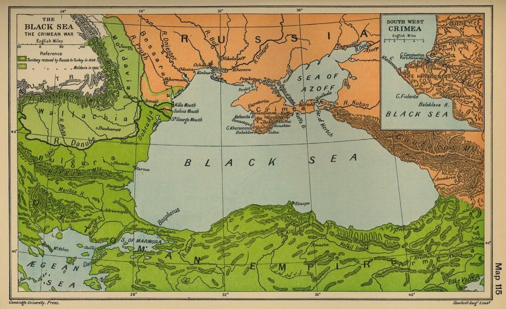 Kaart van de regio van de Krimoorlog