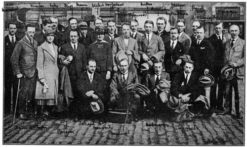 De eerste 'boat' Belgische fellows van de CRB Educational Foundation die in 1920 naar de VS ging. Hart maakte in dat jaar de omgekeerde beweging.