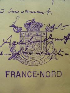 Brief van Arthur Dupont-Gruss aan de prefect van het departement Nord met de stempel van de Société des anciens officiers et sous-officiers belges/de l'armée belge.