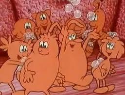 De rode bloedlichaampjes, die zuurstof vervoeren op hun rug.