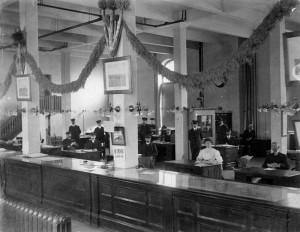 Het immigratiekantoor in Winipeg, de hoofdstad van de provincie Manitoba in Canada in 1907.