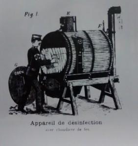 Een desinfectie-apparaat in 1888.