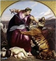 Retribution van E. Armitage, een allegorie op het neerslaan van de Indische opstand van 1857. Brittania is op Grieks-Romeinse wijze uitgedost.