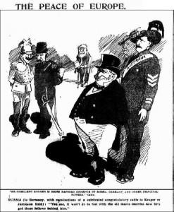 Wilhelm en Nicolaas – terugdenkend aan Wilhelm's desastreuze telegram aan Kruger in 1896 - durven Kruger niet te ontvangen onder toeziend oog van het Britse Rijk.