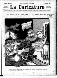 Kruger lijkt te ontsnappen aan Victoria en zoekt zijn heil bij Wilhelmina: Frans tijdschrift schrijft 'Un qu'elle n'aura pas' 'Victoria – Hé, quoi! monsieur Krüger, vous m'abandonnez pour cette petite Wilhelmine? J'avais pourtant pour vous une belle résidence… à Sainte-Hélène!'
