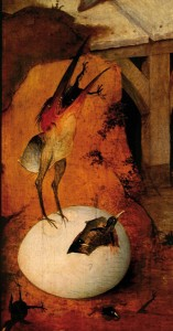 Een 'kwaad kieken' broedt op een kwaad ei, zoals Hiëronymus Bosch het schilderde in De aanbidding van de Heilige Antonius rond 1500 (Museu Nacional de Arte Antiga, Lissabon).