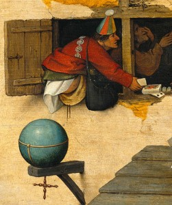 'Op de werelt schijten' ('Overal maling aan hebben') was een populaire uitdrukking in de middeleeuwse Nederlanden. Pieter Bruegel de oude, De dwaasheid van de wereld, ca. 1559 (Gemäldegalerie Berlin).