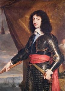 Portret van Karel II in 1653, met op de achtergrond de witte klifrotsen van Dover.