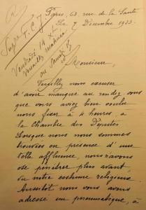 De brief die de moeder-overste van de Fidèles Compagnes de Jésus uit Parijs op 7 december 1923 richtte tot Groussau (Archives départementales du Nord).