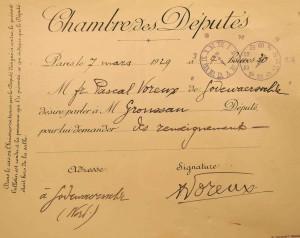 Aan de hand van een voorgedrukte pneumatische kaart, konden gewone burgers bij hun aanwezigheid in het parlement snel een afspraak maken met een welbepaald Kamerlid (Archives départementales du Nord).