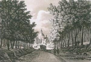 Reizigers vertrokken meestal vanuit Brussel met een reiskoets. Na een tocht door het Zoniënwoud kwamen ze aan bij de kerk van Waterloo.