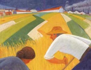 De grijparmen van de industrie, schilderij van Jan Kiemeneij uit 1929 (Kunstcollectie Provincie Antwerpen).