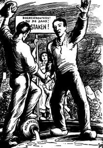 """""""Het Boerenfront"""", een syndicale landbouworganisatie verbonden aan het VNV, vond zijn oorsprong in de vele boerenbetogingen aan het eind van de jaren '30 (Ministerie van Economie, Archief Ministerie van Landbouw)."""