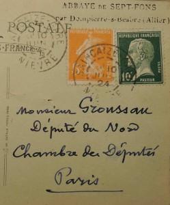 Voor het advies en de expertise van Groussau schreven Franse burgers uit verschillende regio's tijdens het interbellum een kaart of brief naar zijn adres in Versailles of naar de Kamer, zoals in dit postkaartfragment uit 1924, afkomstig uit Allier (Archives départementales du Nord).