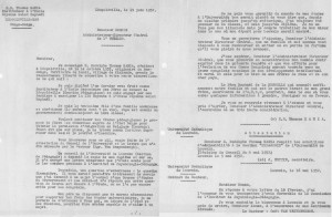 Een brief die Thomas Kanza in 1952 schreef aan de algemeen directeur van de Usines Textiles de Léopoldville, met de vraag om zijn studies in Leuven te sponsoren en in bijlage de schriftelijke toestemming van rector Van Waeyenbergh.