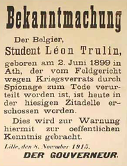 Affiche met de officiële bekendmaking van de dood van Trulin.