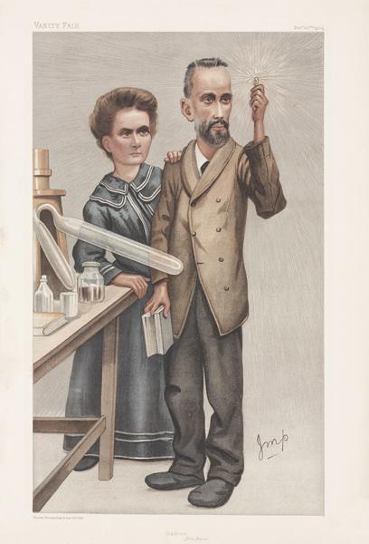 Karikatuur van Marie en Pierre Curie in Vanity Fair,  1904.