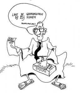 Geert Defloor, student Germaanse filologie, voerde in 1982 verschillende keren P.C. Paardekooper op in zijn cartoons voor het studententijdschriftje [archief Alumni Germaanse].