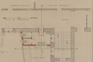Op 10 september 1918 tekende de stadsarchitect dit plan voor een 'sanitaire inrichting' op de eerste verdieping van het stadhuis.