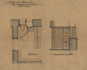 Dit plan voor de uitbreiding van het urinoir in een van de archiefdepots werd niet uitgevoerd. De wastafel was er al, vlak naast een archiefkast.