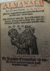 Titelpagina van de almanak en prognosticatie voor het jaar 1592 van de Gentse stadsgeometrist Jan Verniers, hier verbeeld als praktiserend astroloog.
