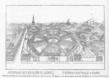 Het Gentse correctiehuis, met een kenmerkende panopticum-structuur: vanuit een centraal punt konden bewakers de gevangenen in het oog houden.
