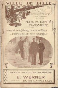 Programma van de fêtes de l'amitié franco-belges in 1921 met op de voorpagina een foto van de Belgische koninklijke familie (Collectie Damien Top).