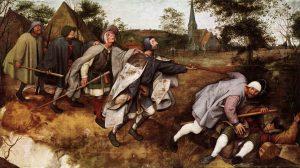 De armen waren een geliefd onderwerp van Pieter Bruegel de Oude, zoals hier in de Parabel der blinden (ca. 1568).