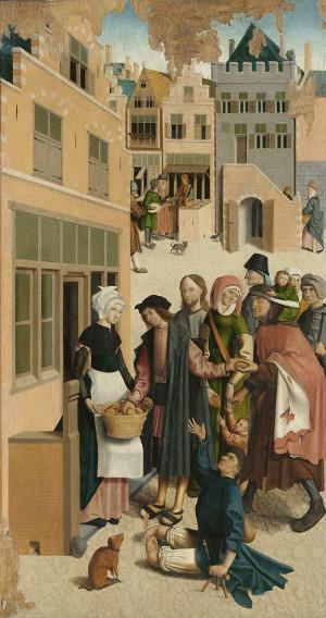 Het spijzen van de hongerigen, detail uit de zeven werken van barmhartigheid van de Meester van Alkmaar (1504)