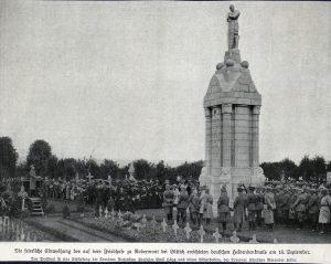 De inhuldiging van het Duitse gedenkteken op de Luikse begraafplaats Robermont op 15 september 1916.