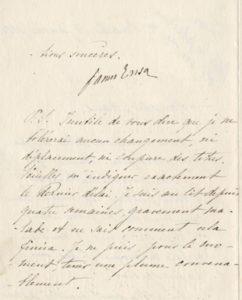 Brief van 14 januari 1888 van Ensor aan Maus waarin Ensor Maus erop wijst dat hij geen verplaatsingen, veranderingen en verknippingen van titels tolereert.