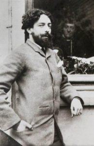 James Ensor voor het huis van Ernest Rousseau (ca. 1888).