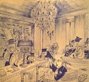 Cartoon gemaakt door een geïnterneerde die aantoont hoe hij het voorkomen bij de commissie ervoer.