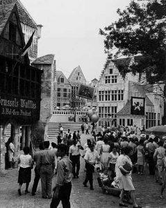 Brusselse wafels to koop in het Belgisch dorp op de wereldtentoonstelling van 1964 in New York.