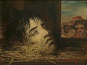 Het geguillotineerde hoofd van François Rosseel geschilderd door Antoine Wiertz. (Antoine Wiertz, Een afgehakt hoofd, 1855. Koninklijke Musea voor Schone Kunsten van België, Brussel. Foto J. Geleyns.)