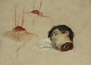 Antoine Wiertz verbeeldde de brutaliteit van de onthoofding in zijn schilderijen. (Antoine Wiertz, Een afgehakt hoofd, s.d. Koninklijke Musea voor Schone Kunsten van België, Brussel.)