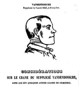 Een portrettekening van de veroordeelde Vandenbossche in een medisch tijdschrift.